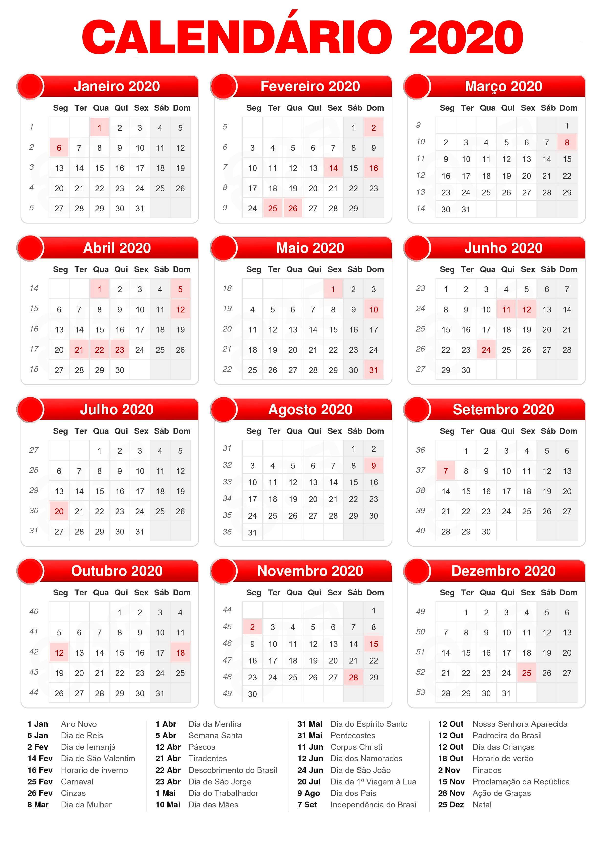 Calendario 2020 Com Feriados.Calendario 2020 Com Feriados Calendario