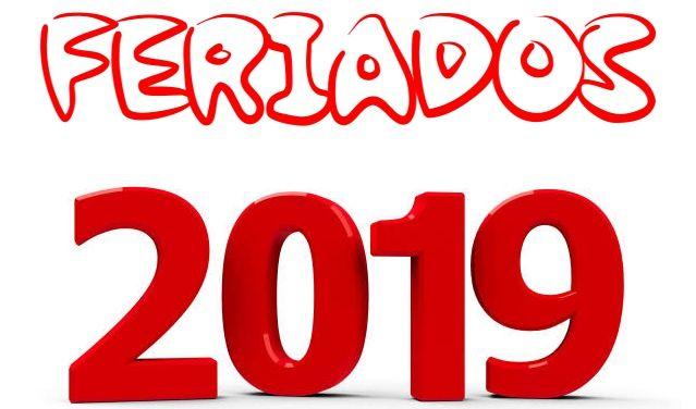 Resultado de imagem para CALENDÁRIO DE FERIADOS DE 2019